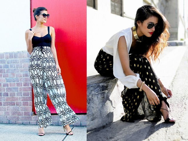 How to wear palazzo pants - spagetti tops wid prints