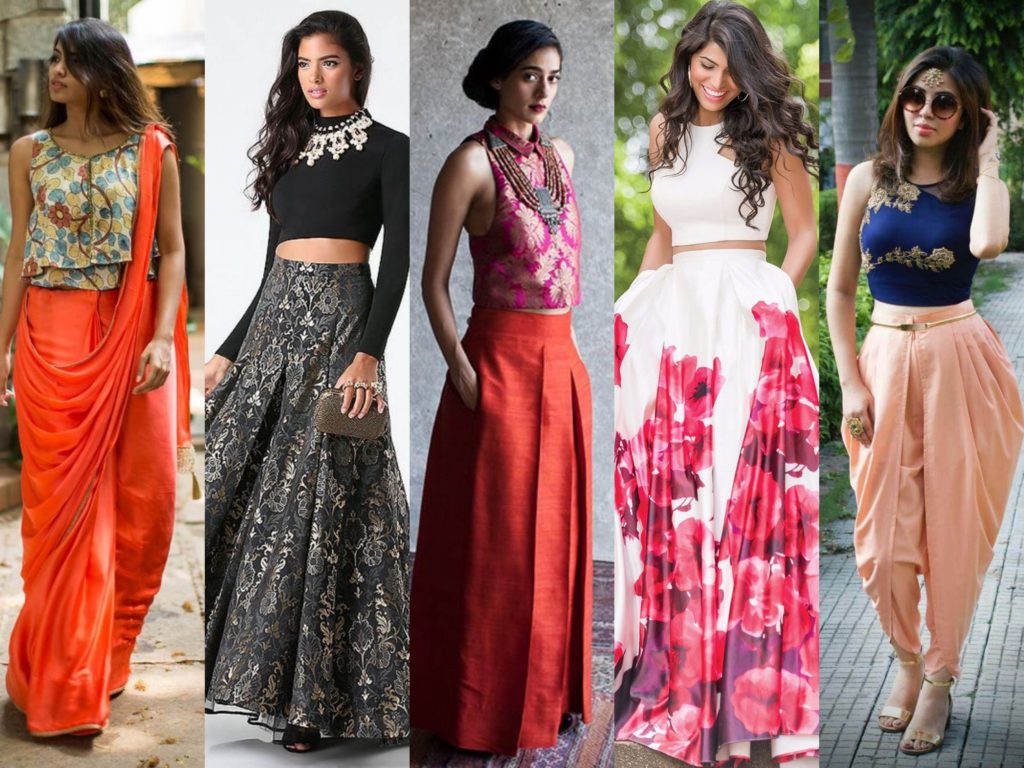 How to wear crop top with lehenga saree dhoti skirt